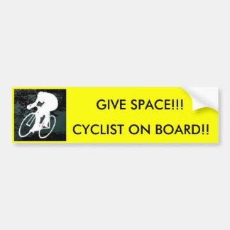 ¡bici, CICLISTA A BORDO!! ¡, DÉ EL ESPACIO!!! Pegatina Para Coche