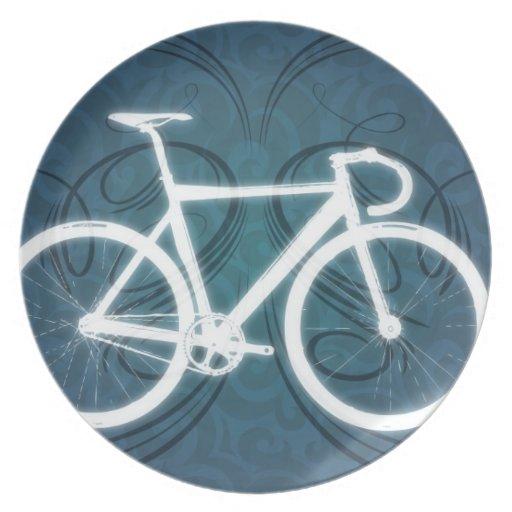 Bici de la pista estilo azul del tatuaje plato zazzle - La bici azul ...
