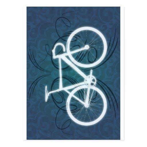 Bici de la pista estilo azul del tatuaje postal zazzle - La bici azul ...