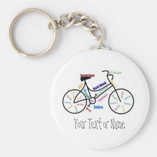 Bici de motivación, bicicleta, completando un cicl llavero redondo tipo chapa