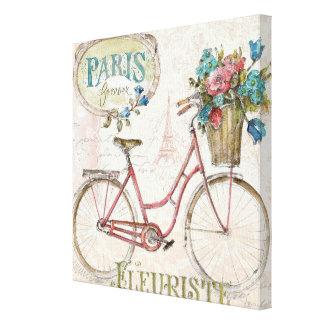 Bici de París con las flores en frente Lienzo