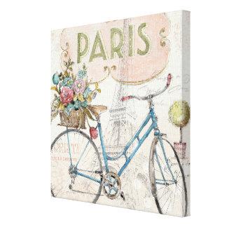 Bici de París con las flores Lienzo