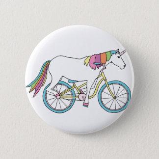 Bici del montar a caballo del unicornio chapa redonda de 5 cm