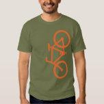 Bici, silueta vertical, diseño anaranjado camiseta