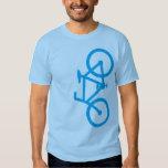 Bici, silueta vertical, diseño azul camiseta