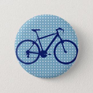 bici y lunares azules chapa redonda de 5 cm