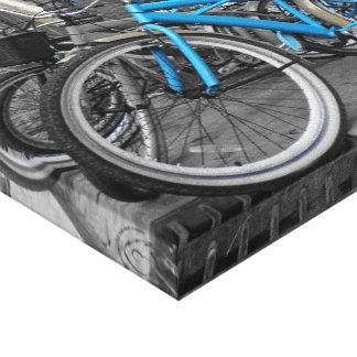 Bicicleta azul impresión en lienzo estirada