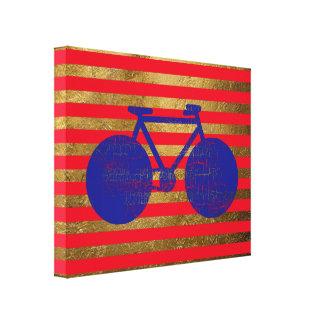 bicicleta azul y rayas de oro/rojas impresión en lienzo estirada