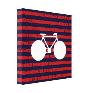 bicicleta blanca moderna y rayas rojas impresión en lienzo