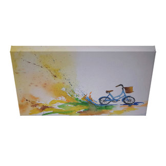 Bicicleta de la acuarela impresión en lienzo