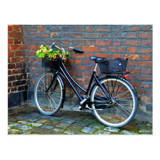 Bicicleta de la cesta de la flor, Copenhague, Postal