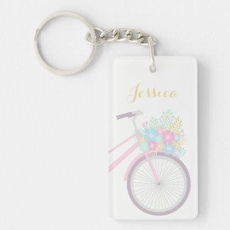 Bicicleta de la flor del monograma que desea gran llavero