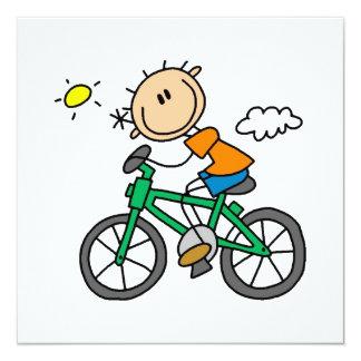 Bicicleta del montar a caballo - varón invitación 13,3 cm x 13,3cm