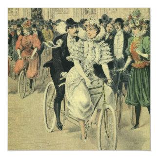 Bicicleta del tándem del paseo del novio de la invitación 13,3 cm x 13,3cm