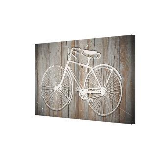 Bicicleta del vintage en arte rústico de la pared  impresiones en lienzo estiradas
