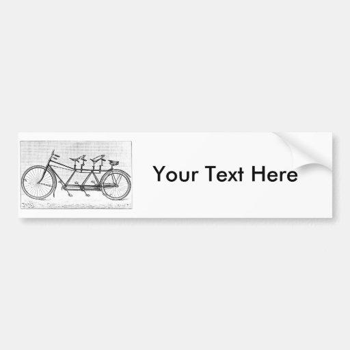 Bicicleta del vintage para tres bicicletas del Vic Pegatina De Parachoque