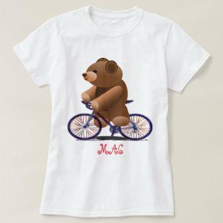 Bicicleta e impresión del oso de peluche camiseta