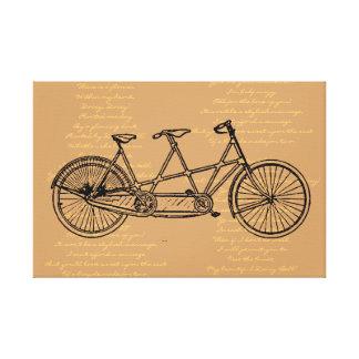 """Bicicleta en tándem con letras a la """"margarita impresion de lienzo"""