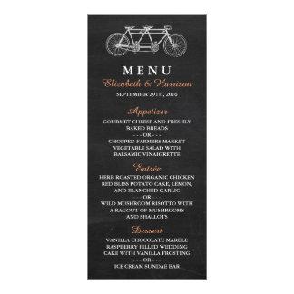 Bicicleta en tándem en menú del boda de la pizarra lona personalizada