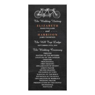 Bicicleta en tándem en programa del boda de la tarjetas publicitarias personalizadas