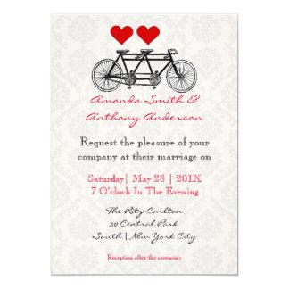 Bicicleta en tándem invitación 12,7 x 17,8 cm