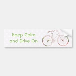 Bicicleta floral femenina etiqueta de parachoque