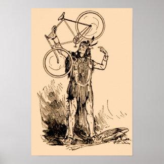 Bicicleta Iroquois india del nativo americano Póster