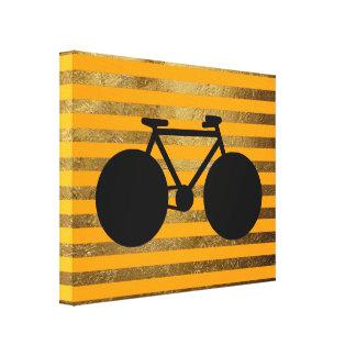 bicicleta negra asombrosa y rayas de oro lona estirada galerías