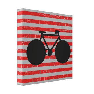 bicicleta negra moderna y rayas rojas impresión en tela
