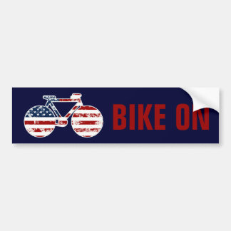 bicicleta patriótica de los Estados Unidos de Amér Pegatina De Parachoque