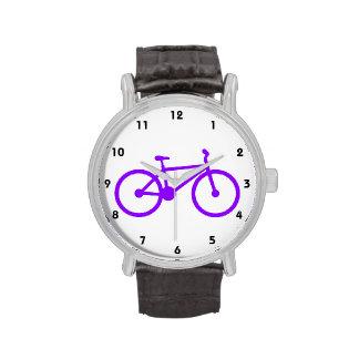 Bicicleta púrpura violeta reloj de mano