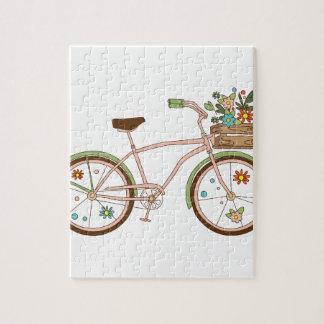 Bicicleta retra con karzinkoy para las flores puzzle