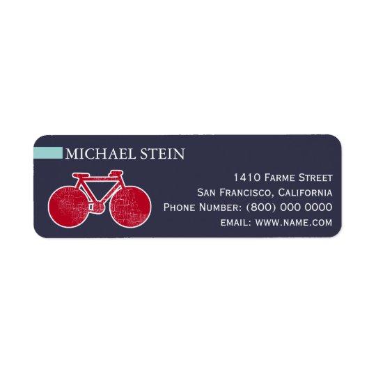 bicicleta roja en azul etiqueta de remitente