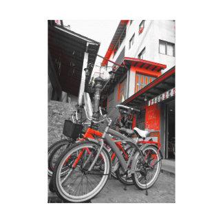 Bicicleta roja impresiones en lona estiradas