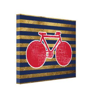 bicicleta roja y rayas de oro/azules impresión en lienzo