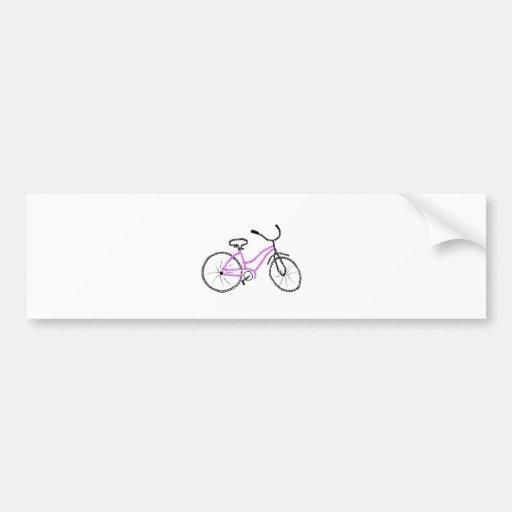 Bicicleta rosada pegatina de parachoque