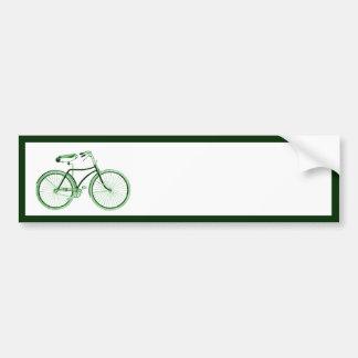 Bicicleta verde del vintage etiqueta de parachoque
