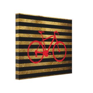 bicicleta y de oro rojo/rayas negras lona estirada galerías