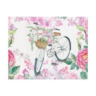 Bicicleta y flores elegantes impresión en lienzo