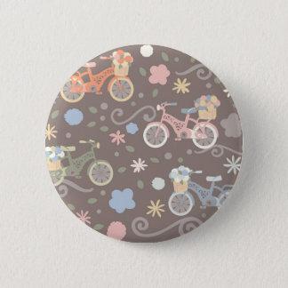 Bicicleta y flores retras chapa redonda de 5 cm
