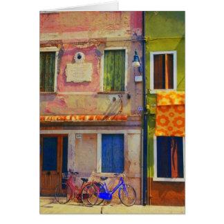 Bicicletas en tarjeta de felicitación de Burano