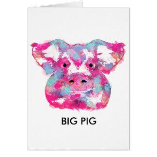 Big pink pig dirty ego tarjeta de felicitación