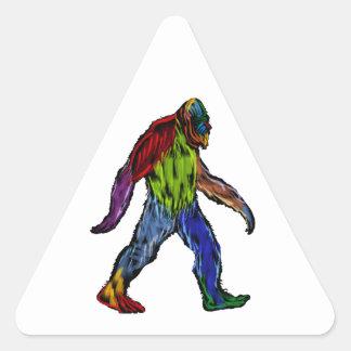Bigfoot en grande pegatina triangular