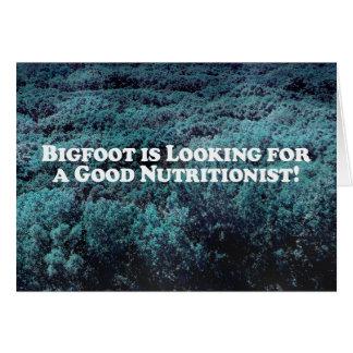Bigfoot está buscando a un buen nutricionista - bá tarjeta de felicitación