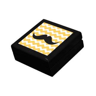 Bigote amarillo de la baratija del modelo de zigza joyero cuadrado pequeño