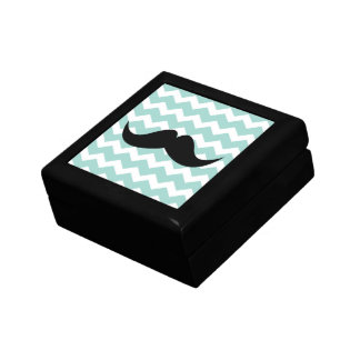 Bigote azul de la baratija del modelo de zigzag de joyero cuadrado pequeño