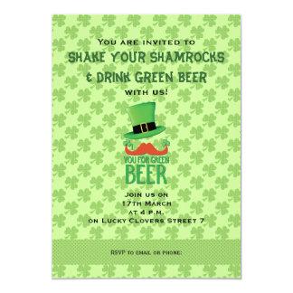 Bigote del jengibre usted para la cerveza verde invitaciones personalizada