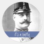 Bigote del vintage/fiesta de encargo del bigote etiqueta redonda