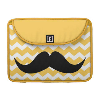 Bigote elegante lindo amarillo del modelo de zigza funda macbook pro