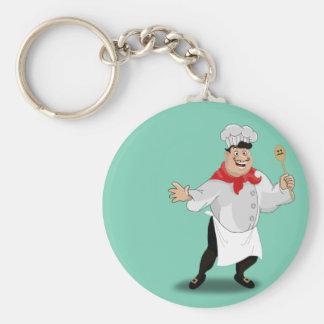 Bigote francés del arte del cocinero de la cocina llavero redondo tipo chapa
